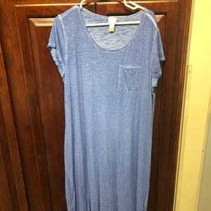 Chico's Blue T-Shirt Maxi Dress